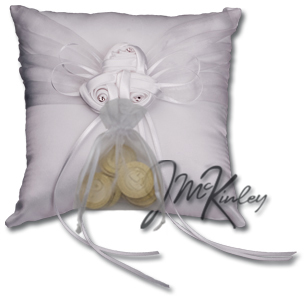 White Wedding Coin Pillow we will sew on a pouch for small or large wedding coins