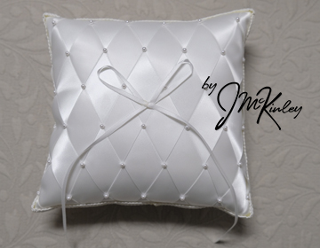 SUPERBUY White Wedding Ring Pillow