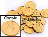 STUNNING Small Gold Coins Dime size bride and groom on the front hearts on the back