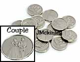 STUNNING Small Silver Coins Dime size bride and groom on the front hearts on the back