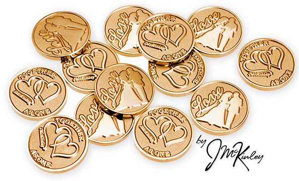 STUNNING Gold wedding coins with Love and bride and groom silhouette on the front with dou