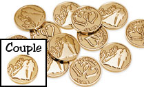 STUNNING Gold wedding coins with Love and bride and groom silhouette on the front with double hearts and TOGETHER AS ONE on the back