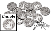 STUNNING Silver wedding coins with Love and bride and groom silhouette on the front with d