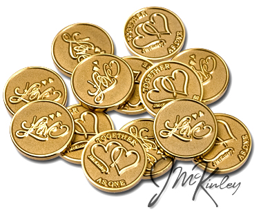 STUNNING Gold Love Scroll wedding coins with double hearts and TOGETHER AS ONE on the back