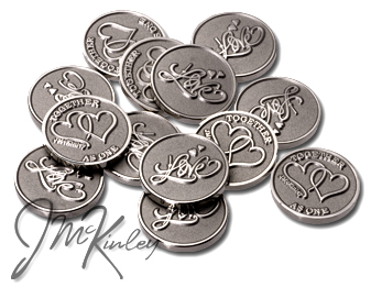 STUNNING Silver Love Scroll wedding coins with double hearts and TOGETHER AS ONE on the ba