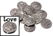 STUNNING Silver Love Scroll wedding coins with double hearts and TOGETHER AS ONE on the back