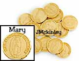 Small Gold Coins Dime size NTRA Senora de Guadalupe on the front Recuerdo Matrimonial o