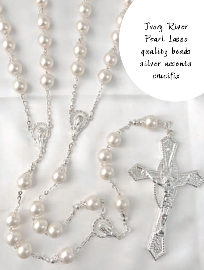 BLOWOUT SALE Elegant Ivory Pearl Lasso Rosary with quality beads and silver accents beaut