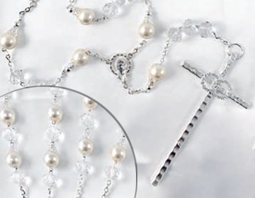 BLOWOUT SALE Ivory Pearl lazo with glass beads and silver accents and eternity cross