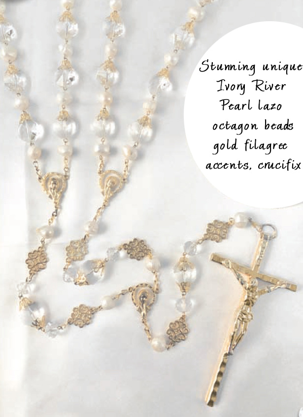 Stunning and unique Ivory River Pearl lazo with octagon beads gold filagree accents and c