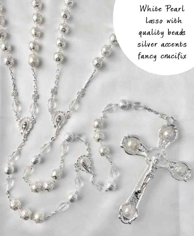 BLOWOUT SALE White Pearl lazo with high quality glass pearl beads unique crucifix and sil