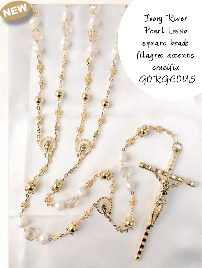 Ivory River Pearl lazo with square beads filagree gold accents crucifix GORGEOUS