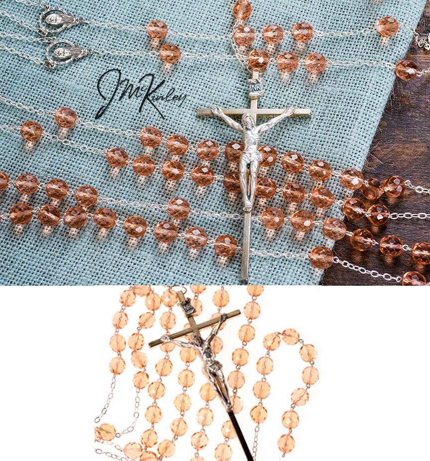 BLOWOUT SALE Stunning peach lasso lazo with silver crucifix and accents deep vivid peachy