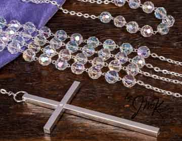 Crystal lazo with cross and silver accents