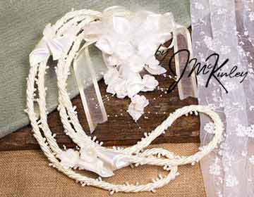 BLOWOUT SALE Stunning Ivory Beaded Rope Lazo with Flower Design
