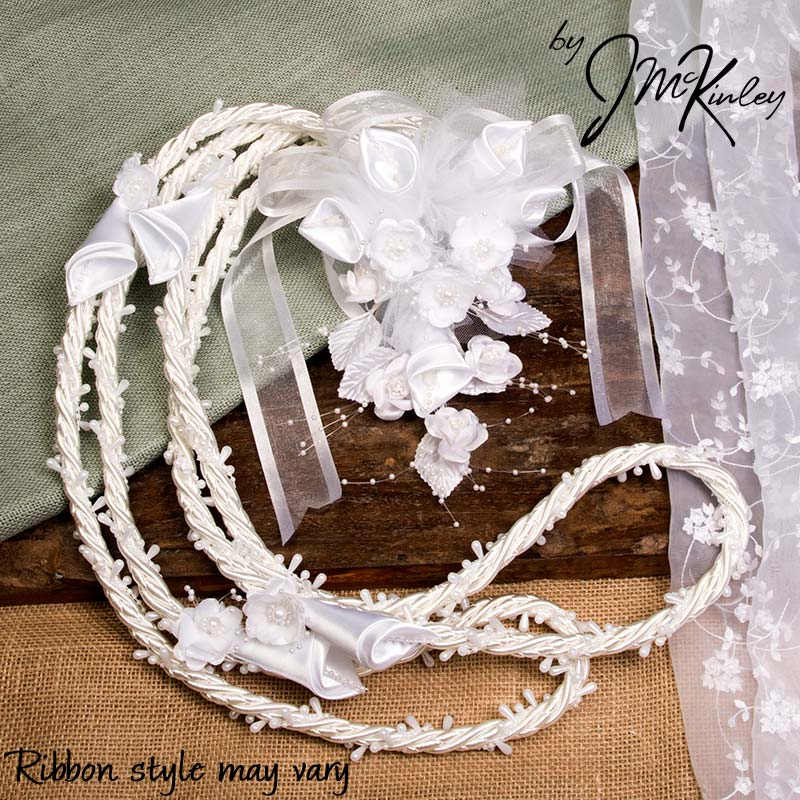 BLOWOUT SALE Stunning White Beaded Rope Lazo with Flower Design