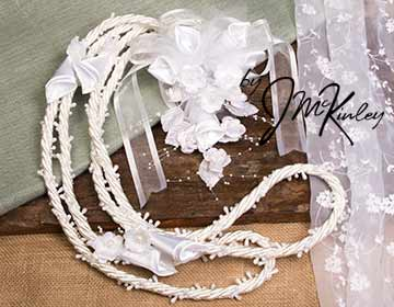 Stunning White Beaded Rope Lazo with Flower Design