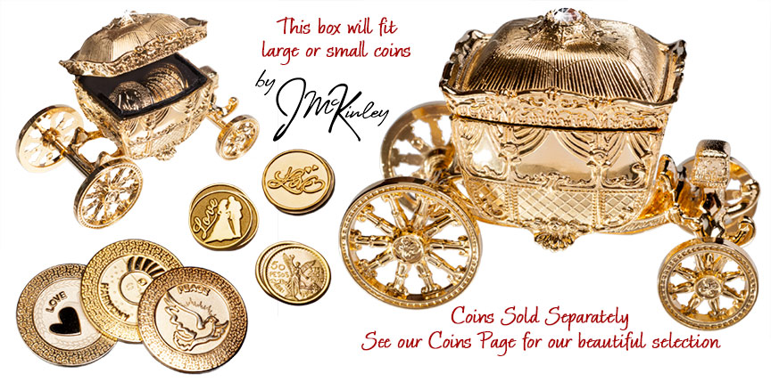 Large Gold Carriage coins sold separately 4 12 x 3 14 x 2 14h