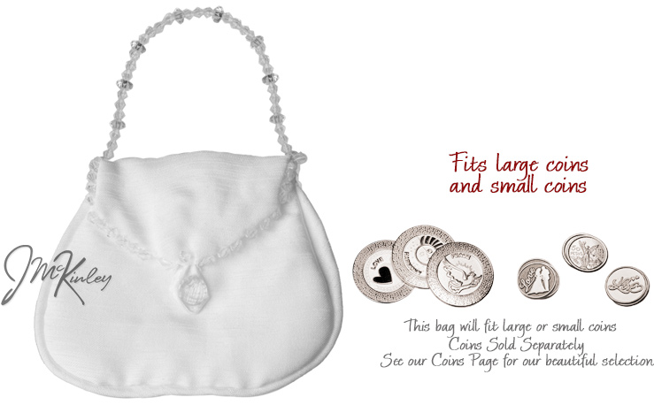 White Wedding Arras Purse Pouch for coins holds large or small coins coins sold separate