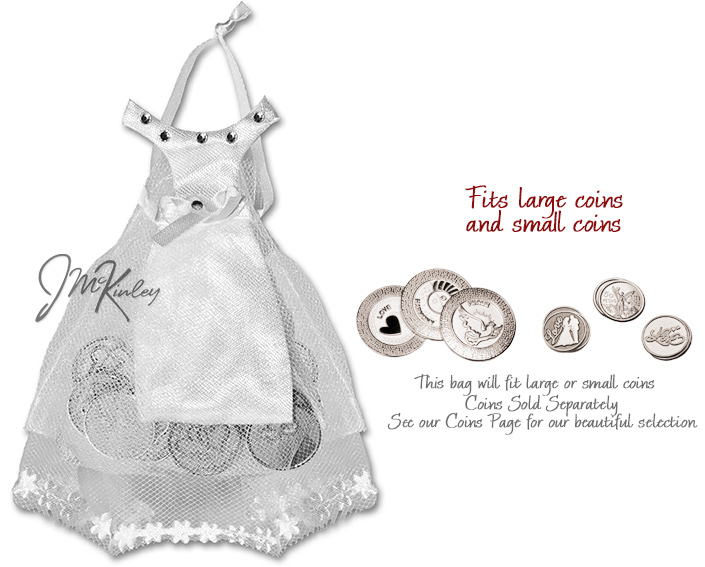 White Wedding Dress Pouch for arras coins holds large or small coins coins sold separate