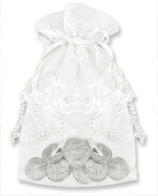 Only a few left White Wedding Arras Pouch for coins holds large or small coins coins so