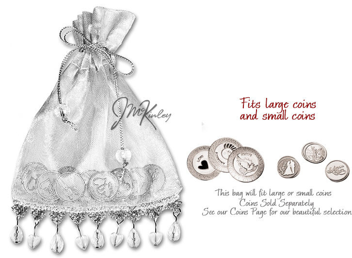 Silver Wedding Arras Pouch for coins Beaded hearts and teardrops dangle holds large or sm