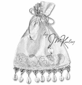 Silver Wedding Arras Pouch for coins Beaded hearts and teardrops dangle