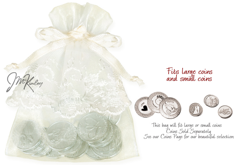 Ivory Wedding Arras Pouch for coins holds large or small coins coins sold separately