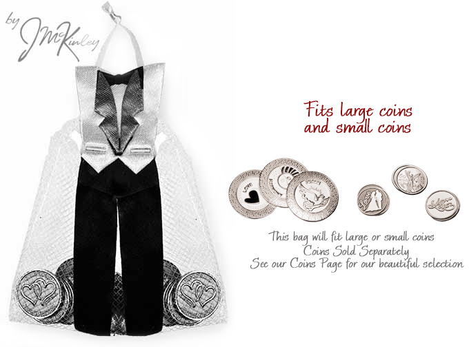 Wedding Tuxedo Arras Pouch for coins holds large or small coins coins sold separately