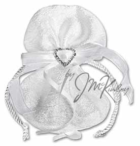 White Wedding Arras Pouch for coins features rope cord and rhinestone heart