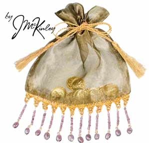 Gold Wedding Arras Pouch for coins with dangling lavendar beads holds large or small coin