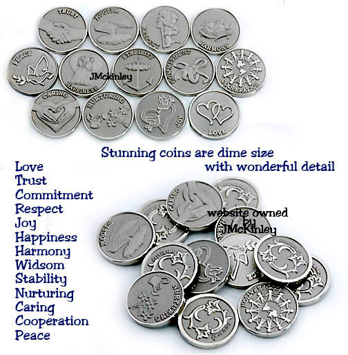 STUNNING Small Silver Wedding Coins Dime size 13 meanings each coin is different