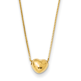14k gold tiny puffed heart sliding on 16 inch chain